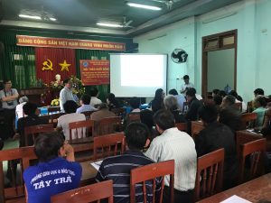 Đại diện UBND xã Trà Phú,Ông Phan Quang Tân- Chủ tịch UBND xã phát biểu tại hội nghị